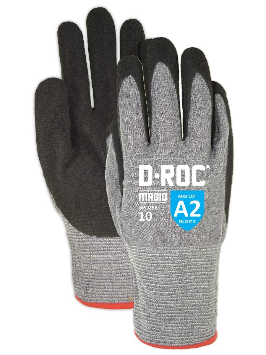 Magid D-ROC Hyperon GPD256 Foam Nitrile Palm Coated Work Gloves – Cut Level A2 (12 Pair)