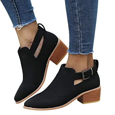 ❤ Hollow Zapatos de Mujer, Invierno Antumn Zapatos de Punta Estrecha Hollow Booties Hebilla Correa Square Heel Single Shoes Absolute: Amazon.es: Ropa y ...