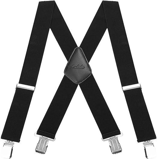 Tirantes para Hombres Tirantes Aulola 50MM Elastic Strutped Heavy Duty X Shape Tirante de Tirantes de Hombres Tirante - Negro: Amazon.es: Hogar