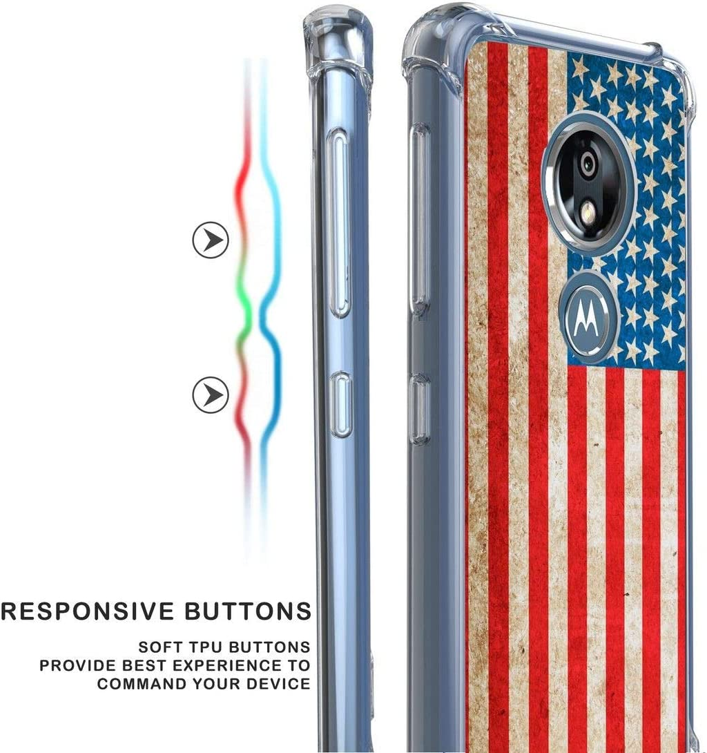 Beyond Cell AquaFlex Designed for Moto G7 Play Full Body Coverage Case with Tempered Glass Screen Protector and Atom Cloth Vintage American Flag