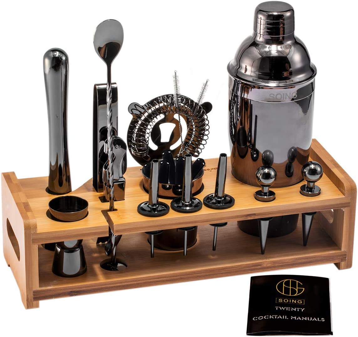 Soing Black 24-Piece Cocktail Shaker Set,Perfect Home Bartending Kit for Drink Mixing,Stainless Steel Bar Tools With Stand,Velvet Carry Bag & Recipes Included