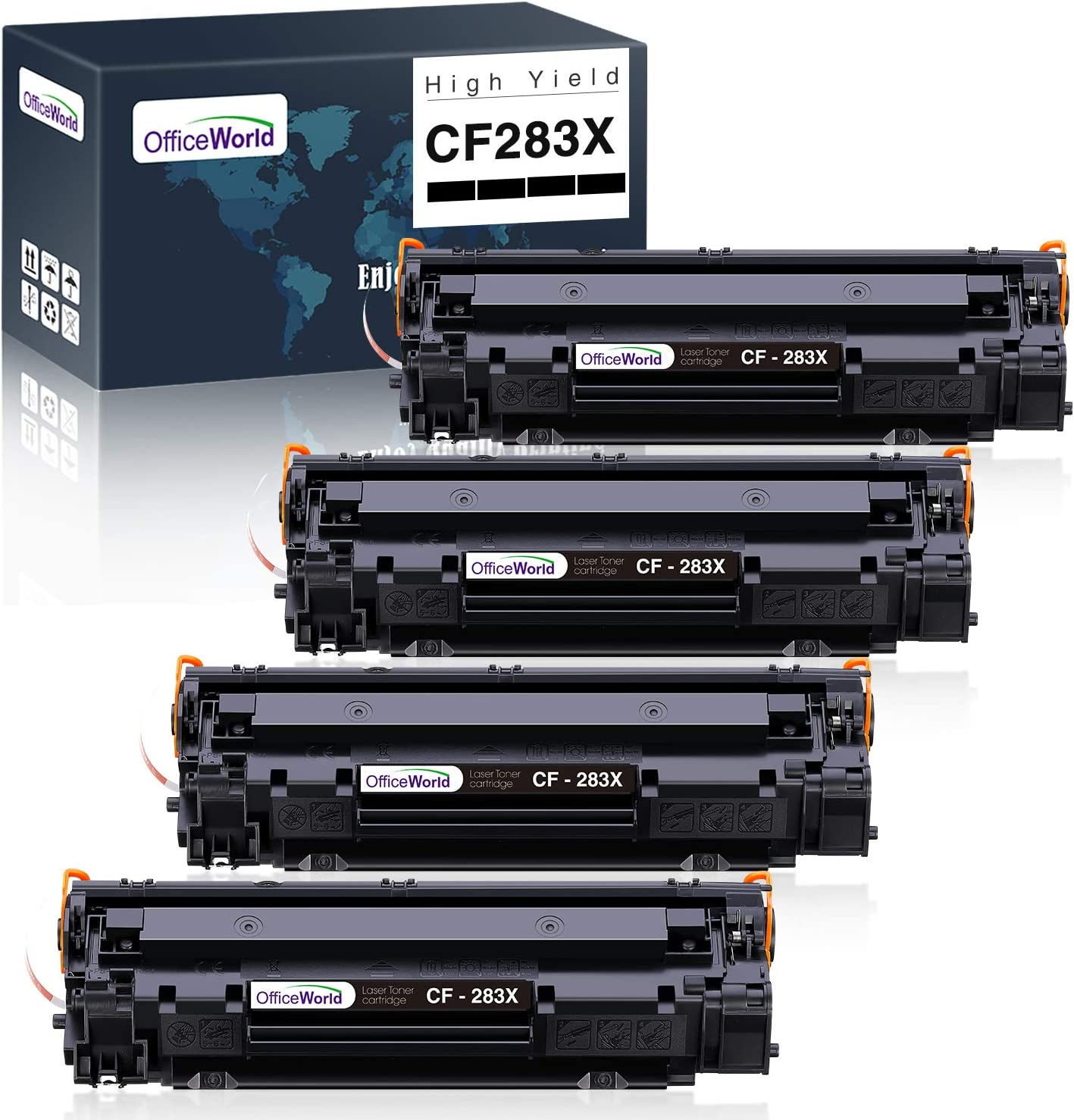 OfficeWorld 83X CF283X Compatible Toner Cartridge Replacement for HP 83X CF283X 83A CF283A (Black, 4-Pack), for HP Laserjet Pro M201dw, M127fw, M125fw, M125fn, M225dn, M225dw Printer, High Yield