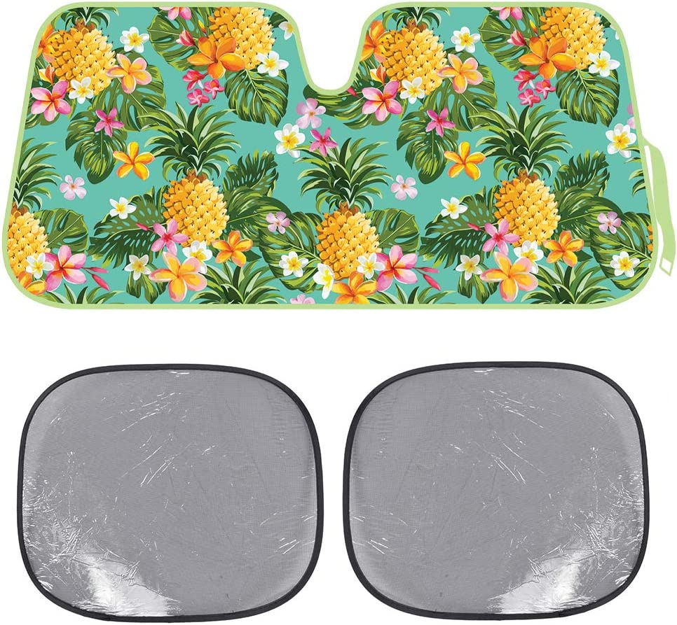 BDK Pineapple Auto Windwhield & Side Sun Shades for Car Auto (Sedan Truck SUV Van) - Accordion Style