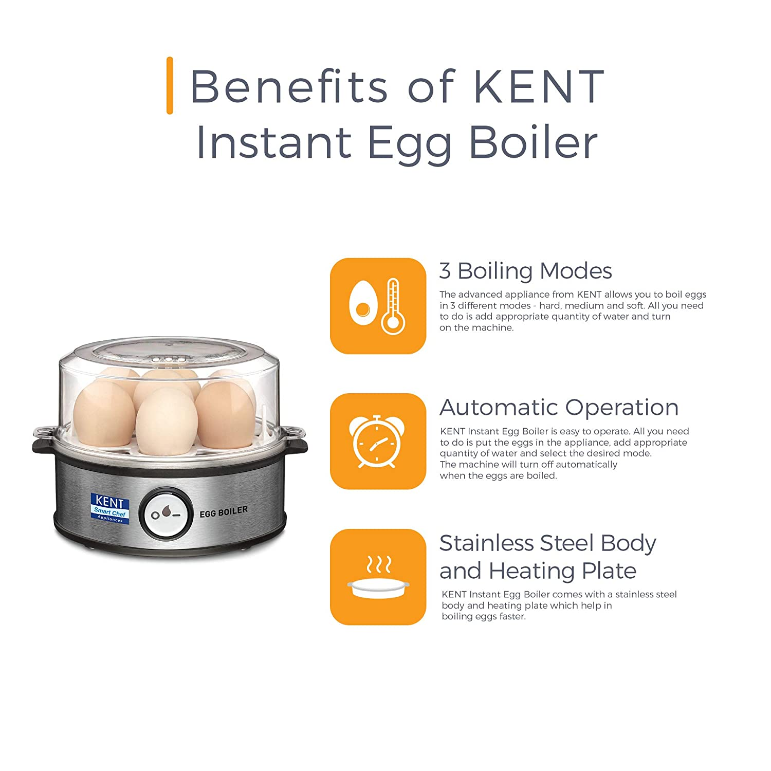 Open-Box & Refurbished (Unused) KENT Egg Boiler 360-Watt (Transparent and Silver Grey) kida.in