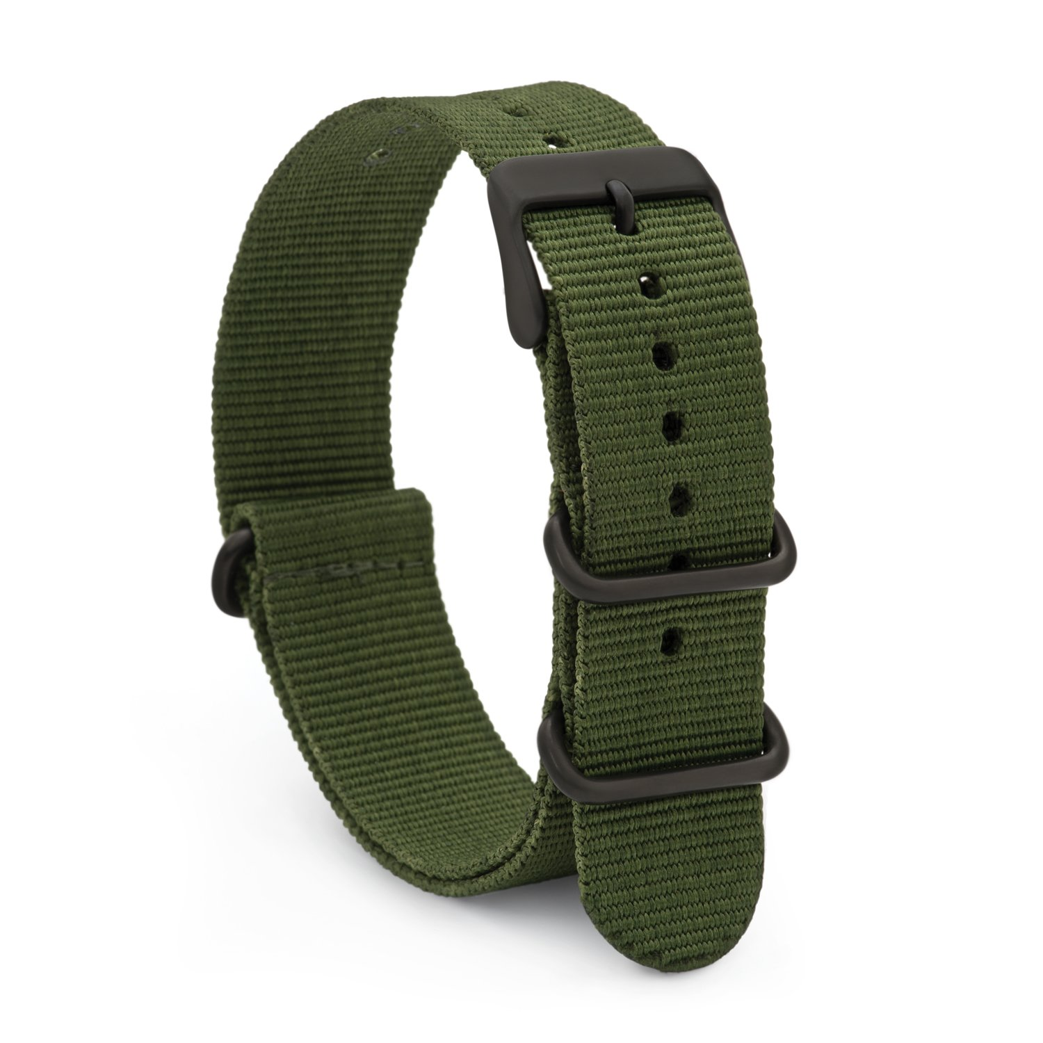 Speidel NATO Watch Band 20mm Green Woven Military Style Nylon Strap with Heavy Duty Stainless Steel Keepers and Buckle