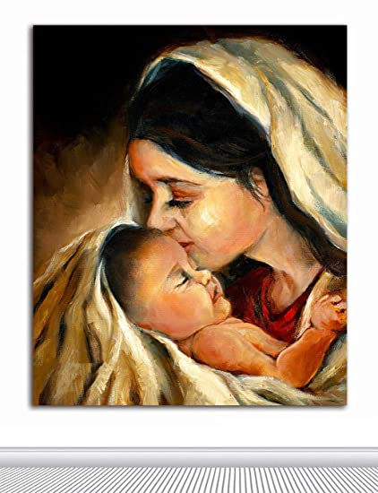 tamatina mother mary and baby jesus fabric canvas paintings for home