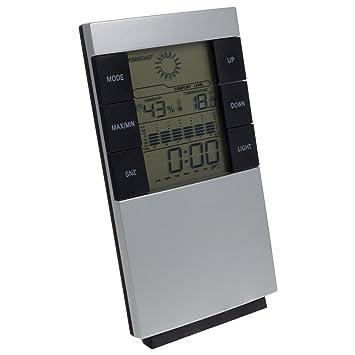 Digital Uhr Wecker Thermometer Innen und Außen Temperatur silber Wetterstation