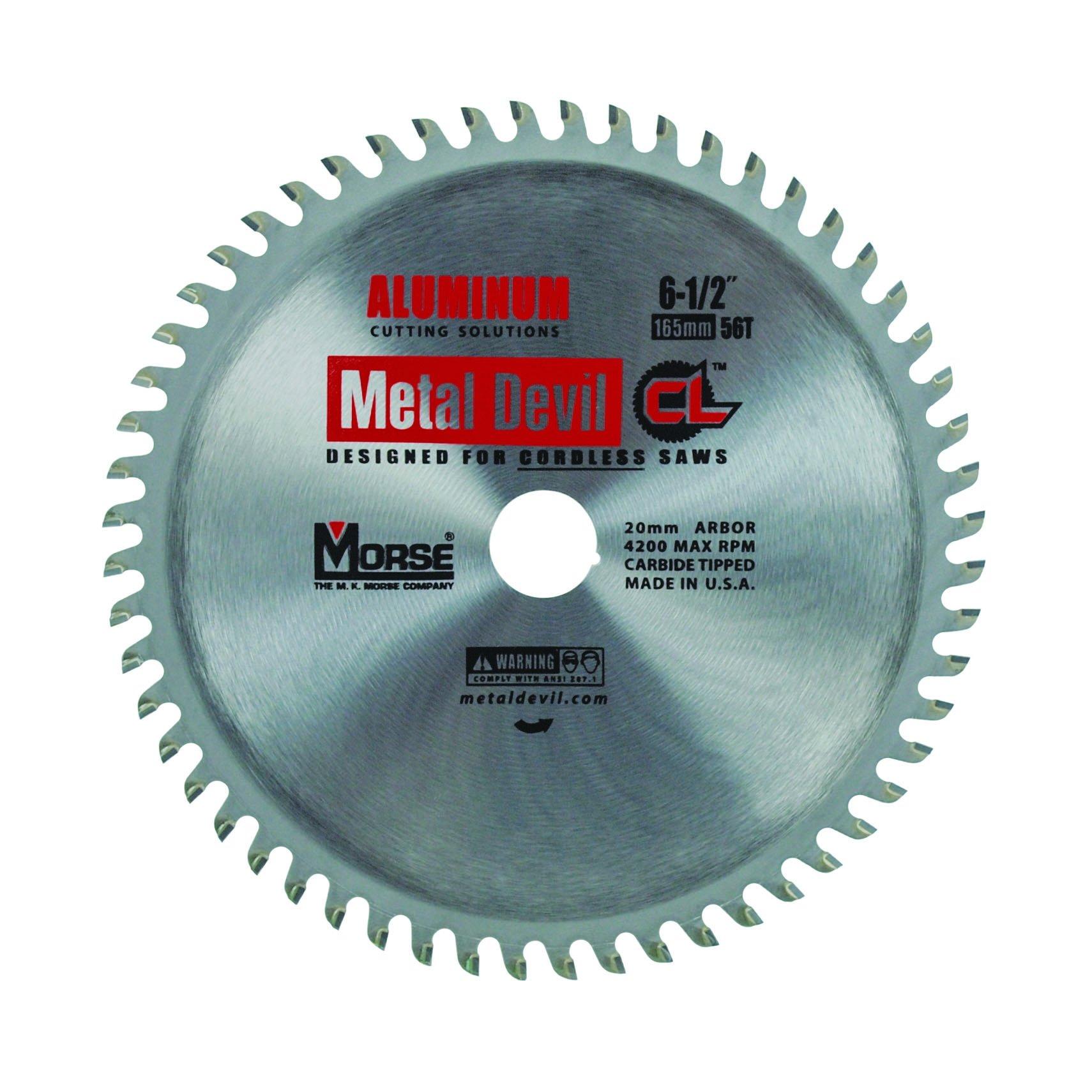 MK Morse CSM6505620CLAC Metal Devil Circular Saw Blade, Aluminum Application, 6-1/2-Inch Diameter, 56 TPI, 20mm Arbor
