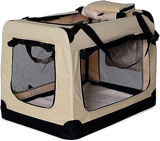Oferta amazon: dibea Transportín para Perros Bolsa transportín para Perros Transportín Plegable Autobox Bolsa para Animales pequeños (70x52x50 cm (L), Beige)