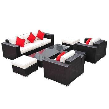 Outsunny 7pc Outdoor Rattan Wicker Sofa Set Garden Patio Furniture W/ Table  Ottoman Cushions Coffee