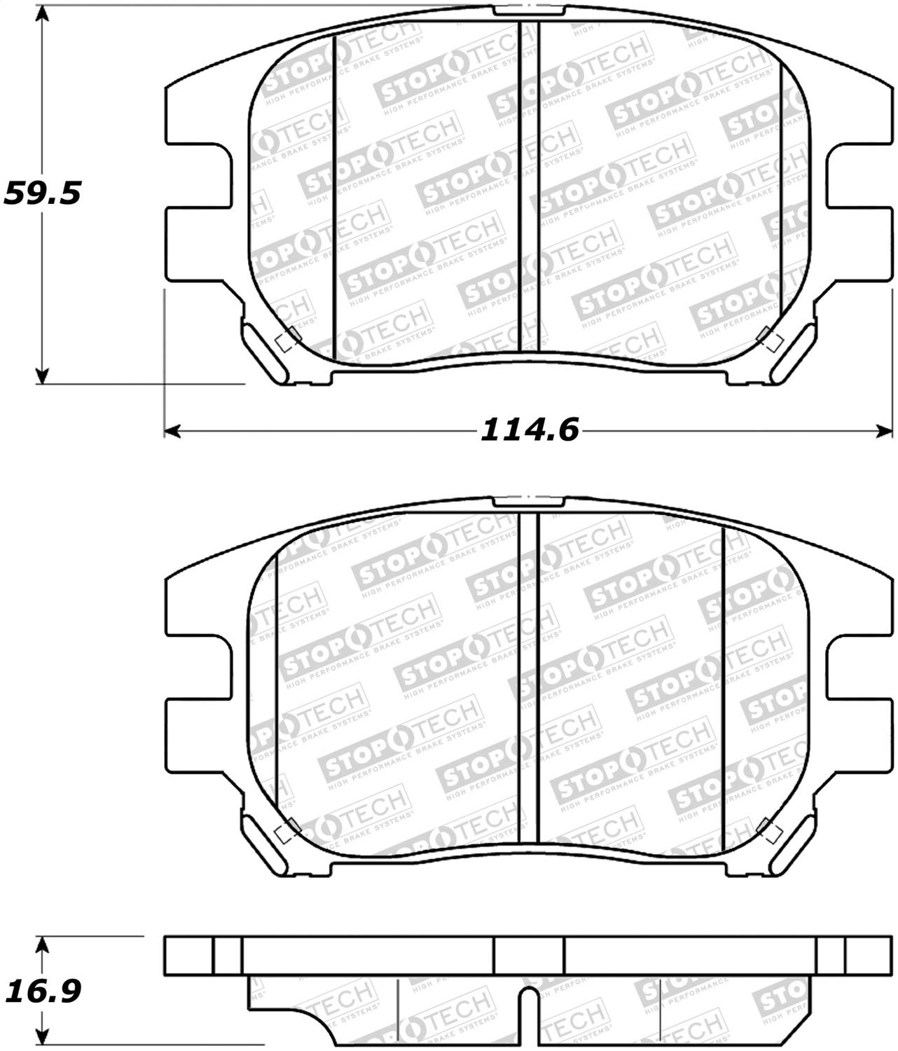 StopTech 308.09300 Street Brake Pads; Front with Shims and Hardware
