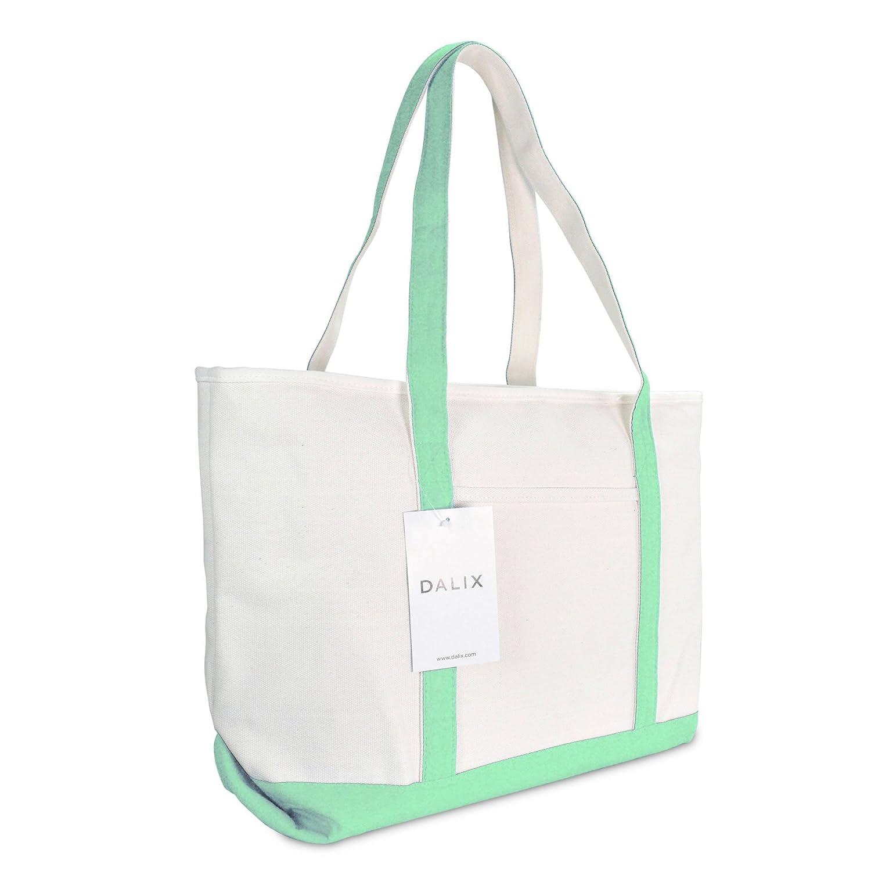 DALIX 23' Premium 24 oz. Cotton Canvas Shopping Tote Bag in Mint Green ST-053-Mint-Green