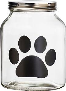 Amici Pet Buddy Paw Medium Glass Storage Canister, 108 oz, Clear
