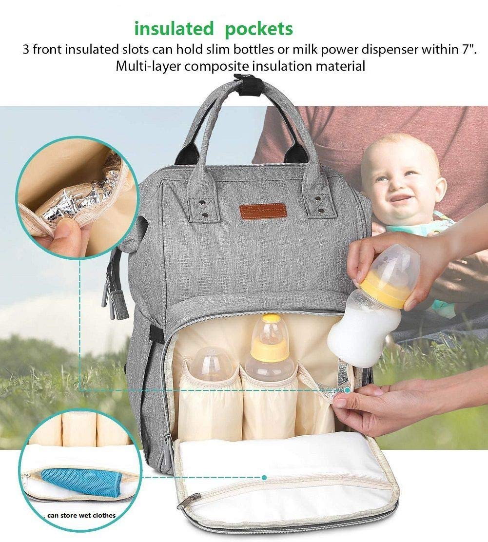 Blue Point Nappy Changing Bag Backpack,Large Capacity Baby Diaper Bag Waterproof Travel Backpack Rucksack for Mom and Dad