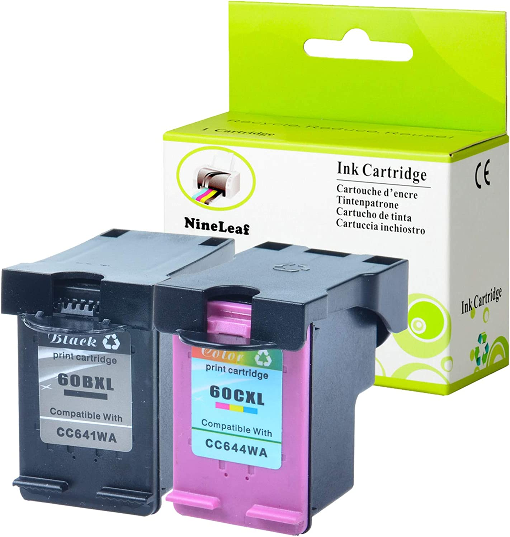 1 Black 1 Tri-Color,2 Pack NineLeaf Remanufactured High Yield Ink Cartridge Compatible for HP 60XL 60 XL CC641WN CC644WN Photosmart C4680 D110 Deskjet D2680 F2430 Printer Show Accurate Ink Level