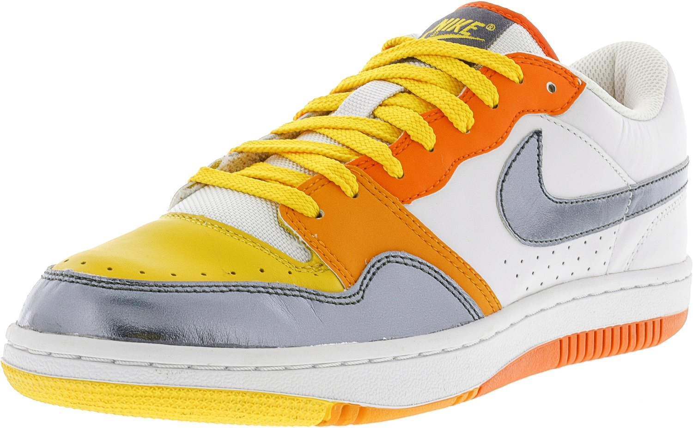 NIKE Women's Court Force White/Flint Grey Orange Blaze Platinum Ankle-High Basketball Shoe - 11.5M by NIKE