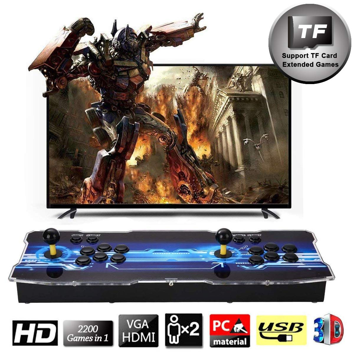 SeeKool Newest 3D Pandora X Arcade Game Console, 1920x1080 Full HD 4 Players Max Arcade Machine with 2200 Games, Support Extended TF Card& USB Disk to Enjoy More Games PC / Laptop / TV / PS3 by SeeKool (Image #1)