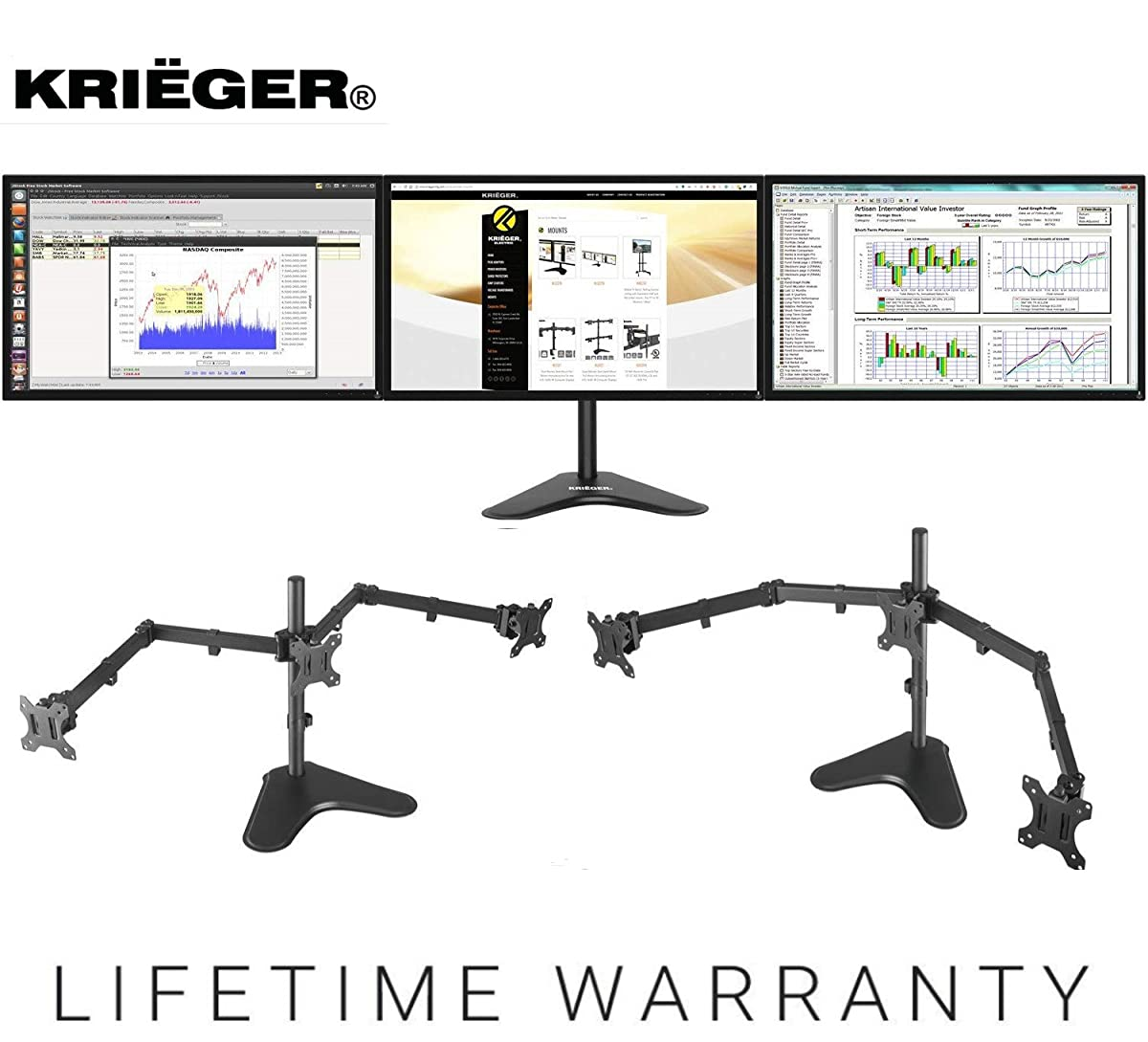 """KRIËGER KL3327N Triple Monitor Mount Full Motion Articulating Arm Monitor Stand Universal Fit for Triple Computer Screens 13"""" - 27"""" Screens Vesa Mount"""