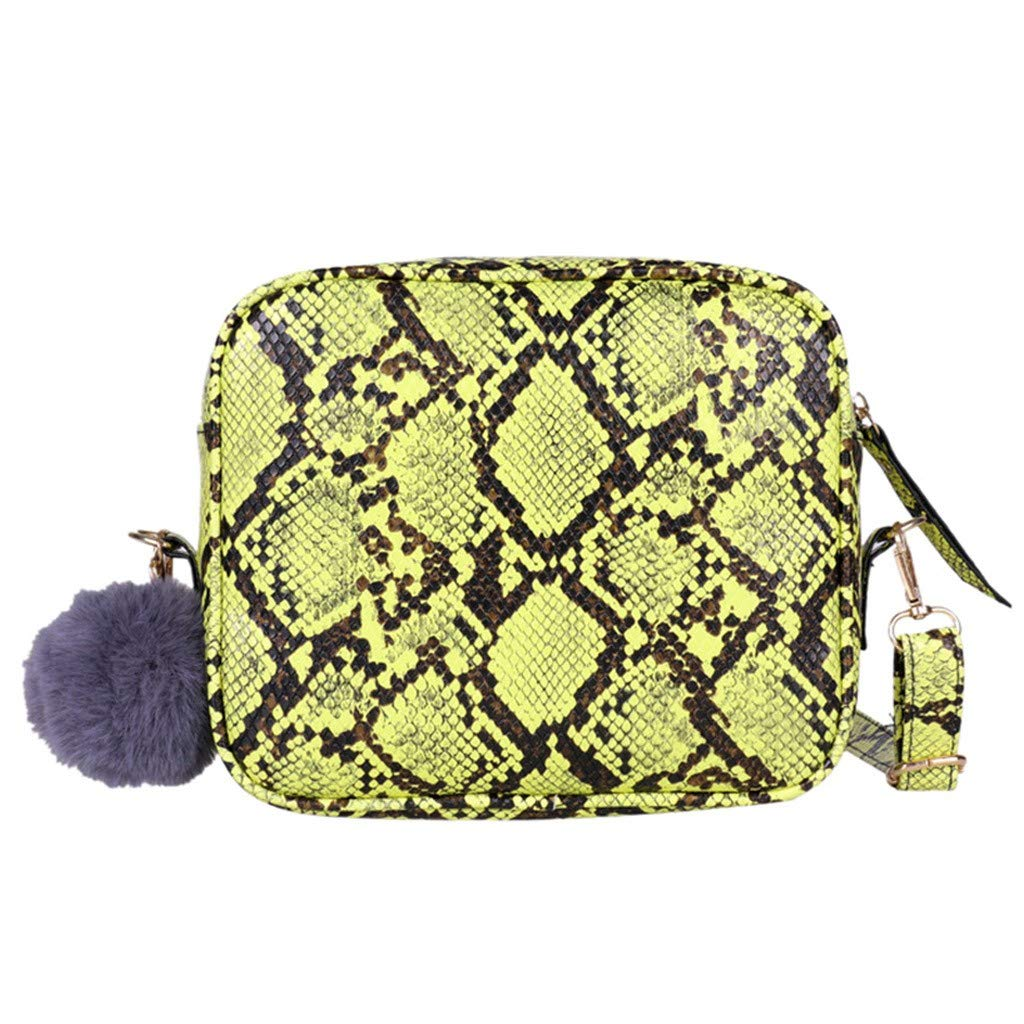 AMOUSTORE Snakeskin Crossbody Bag Mini Purse for Women Girls Cute Shoulder Bag Yellow by AMOUSTORE