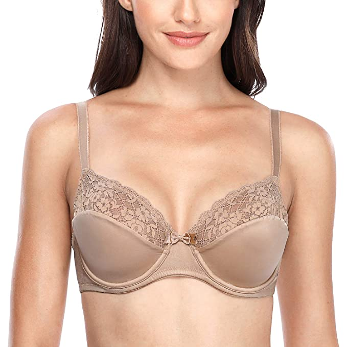 CharmLeaks Women s Lace Plunge Bra Push Up Underwire Everyday Lingerie 36C  Beige fd709b6cf