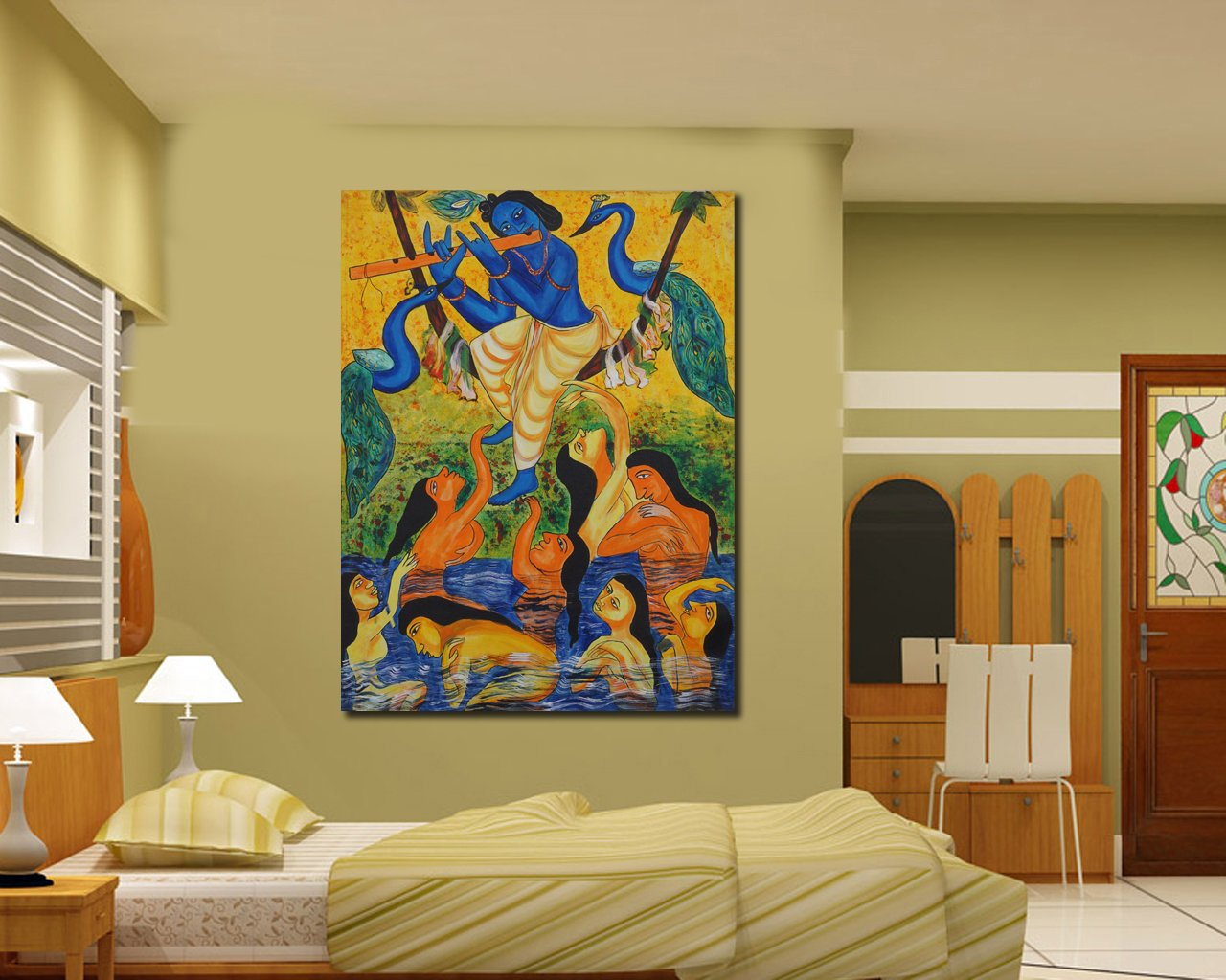 Amazon.com: 999Store orginal art krishna with gopis acrylic canvas ...