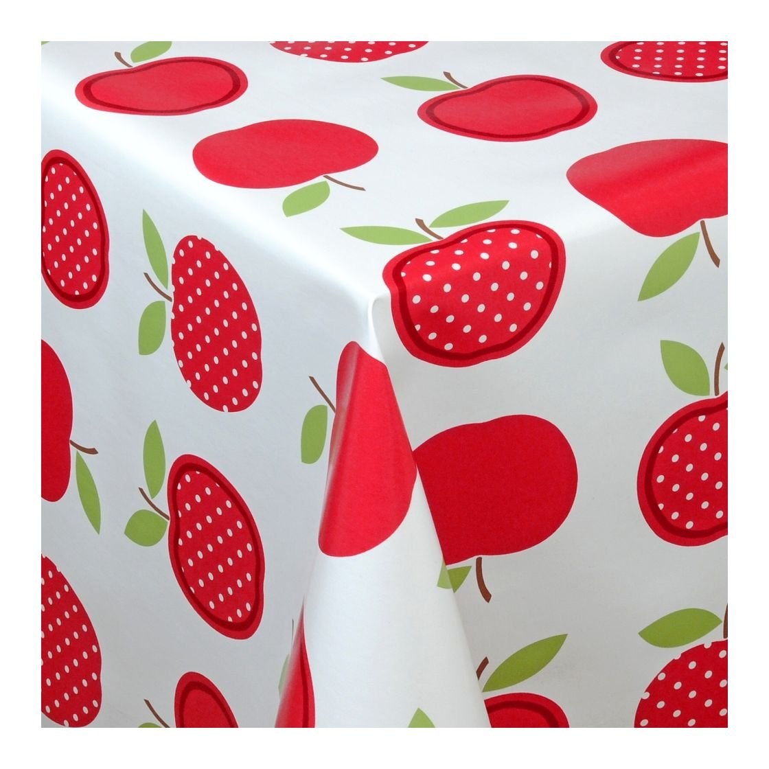 WACHSTUCH Tischdecken Wachstischdecke Gartentischdecke, Abwaschbar Meterware, Länge wählbar,ROT Apples Äpfel Rot Weiß (623-02) 2000cm x 140cm