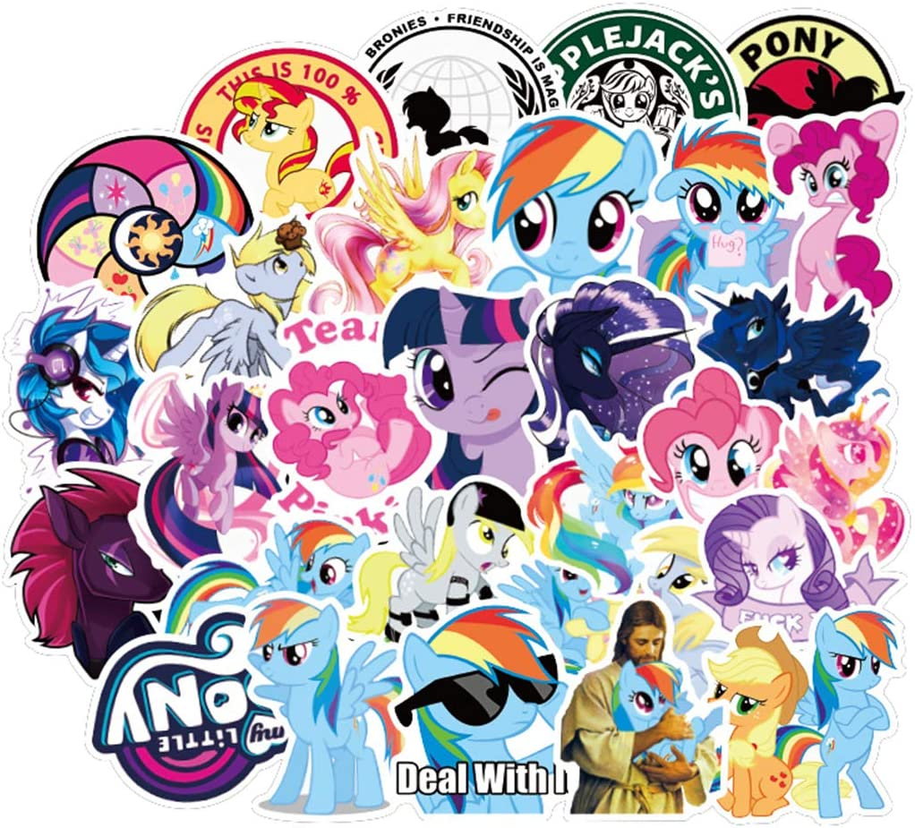 50Pcs American Cartoon My Little Pony Stickers for Water Bottle Cup Laptop Guitar Car Motorcycle Bike Skateboard Luggage Box Vinyl Waterproof Graffiti Patches JKT