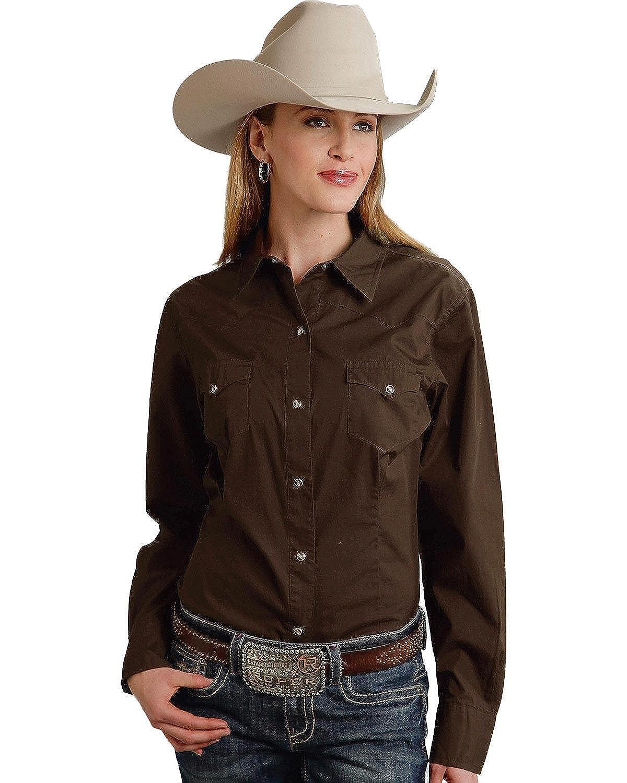 bd721d4d9 Roper Women's Long Solid Poplin L/S Shirt at Amazon Women's Clothing store: