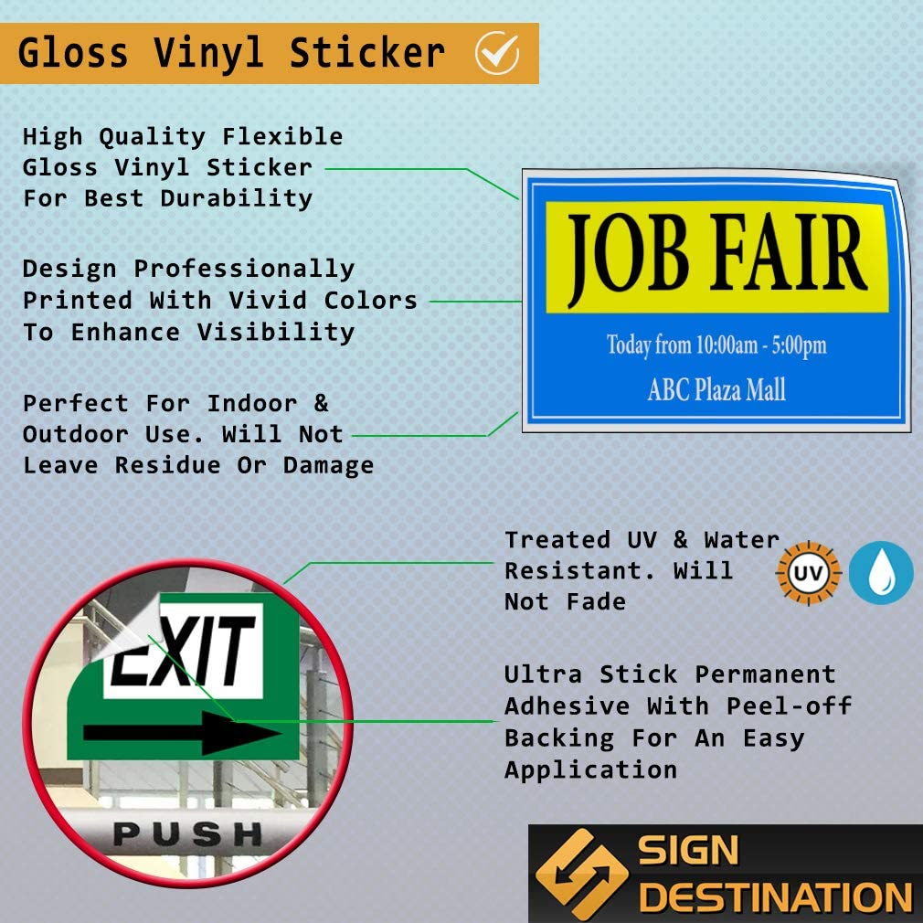 Custom Door Decals Vinyl Stickers Multiple Sizes Job Fair Today from Times Location Business Job Fair Outdoor Luggage /& Bumper Stickers for Cars Blue 66X44Inches Set of 2