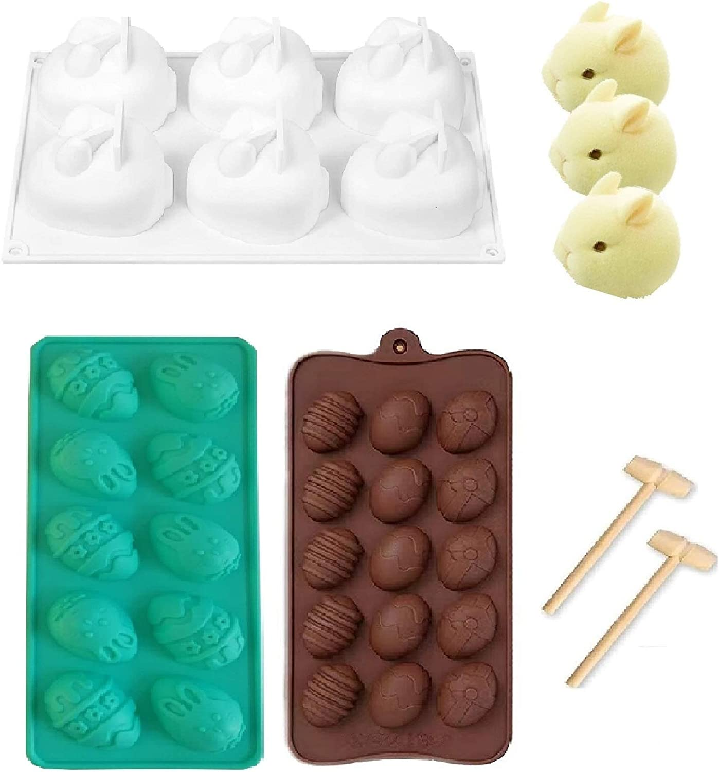 Easter Egg Shaped Silicone Cake Mold and Easter Bunny Egg Shaped Molds Rabbit Cake Molds Set Trays Cooking Supplies for Chocolate, Candies, Ice Cube Trays Baking Molds (c)