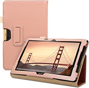 kwmobile Case Compatible with Acer Iconia One 10 (B3-A40) - Slim PU Leather Tablet Cover with Stand Feature - Rose Gold