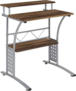 Flash Furniture Clifton Rustic Walnut Computer Desk with Top and Lower Storage Shelves