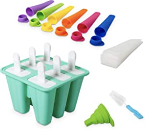 FARANI LIFESTYLE Silicone Popsicle Molds – 10-Piece Set with Popsicle Molds, Funnel, Popsicle Baggie, Brush – Food-Grade Ice Pop Molds for Ice Cream– Quick and Easy Release – Reusable Popsicle Maker