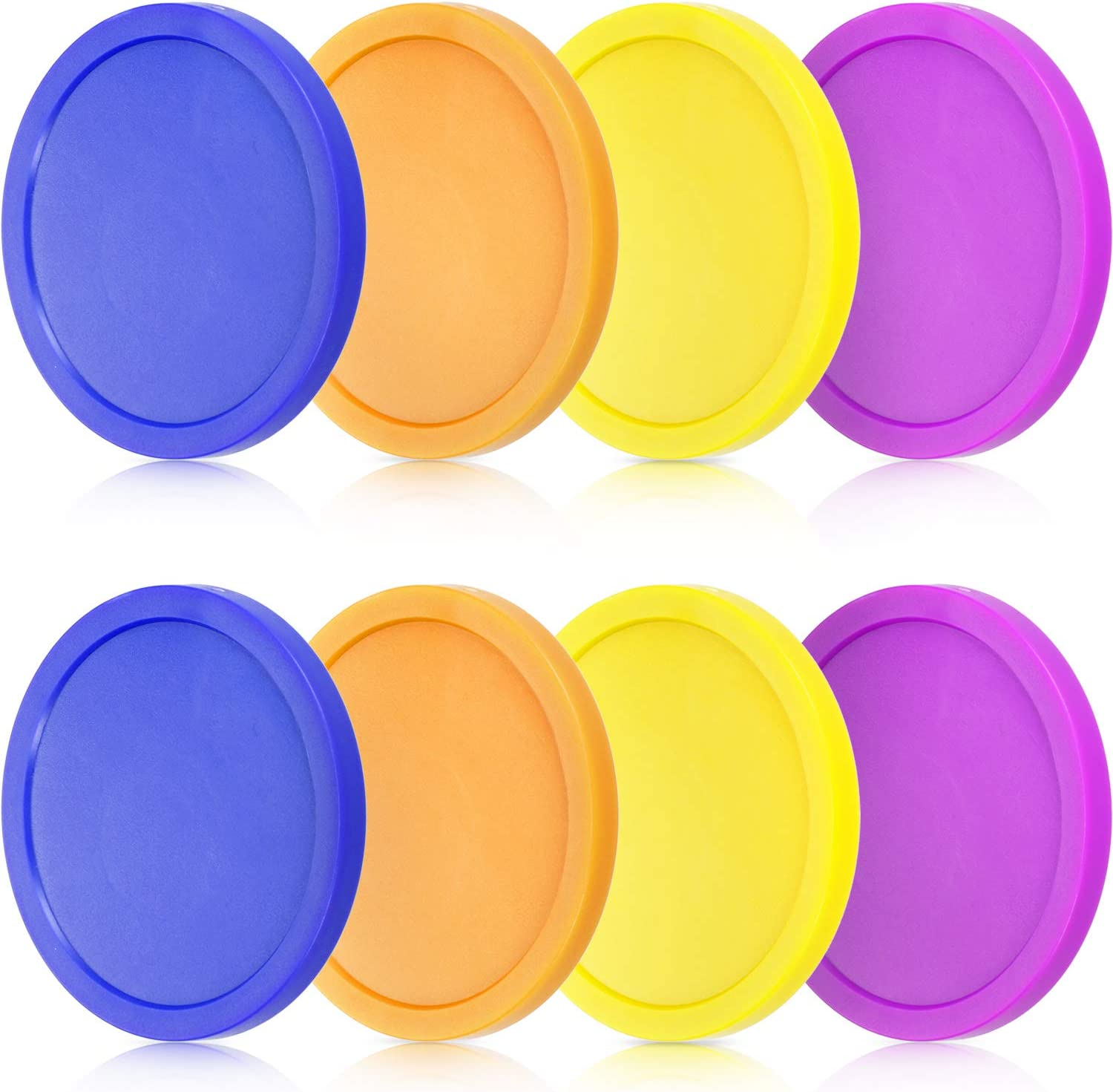 8 Pieces Air Hockey Pucks Replacement Round Pucks for Game Tables, Equipment, Accessories (Blue, Yellow, Purple, Orange, 3.2 Inch): Toys & Games