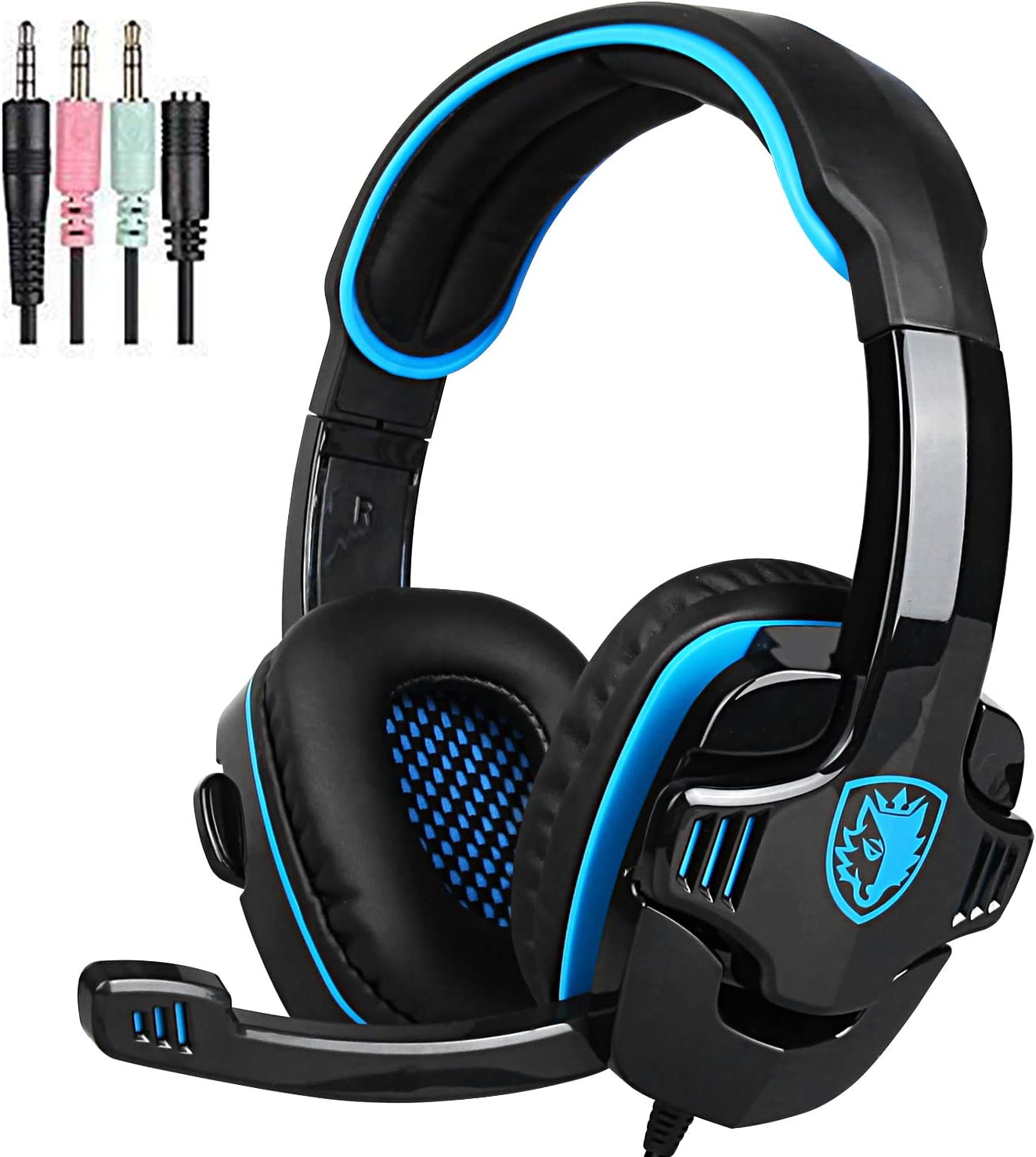 Noise Cancelling Over Ear Headphones Mic PS4 Volume Controller Bass Surround Soft Memory Earmuffs for Computer Laptop Mac PC SADES SA708GT Gaming Headset for Xbox One