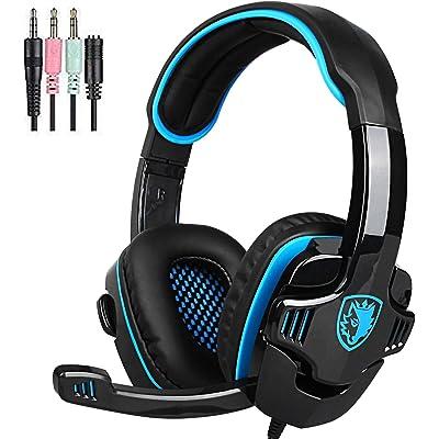 SADES SA805 Gaming Headset - Auriculares gaming over-ear auriculares para juegos con micrófono para multiplataforma nueva Xbox Uno/PC/PS4 con control de volumen (negro azul)