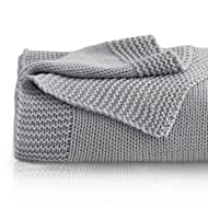 """Bedsure Knitted Throw Blanket for Sofa and Couch, Lightweight, Soft & Cozy Knit Throws - Gray, 50""""x60"""""""