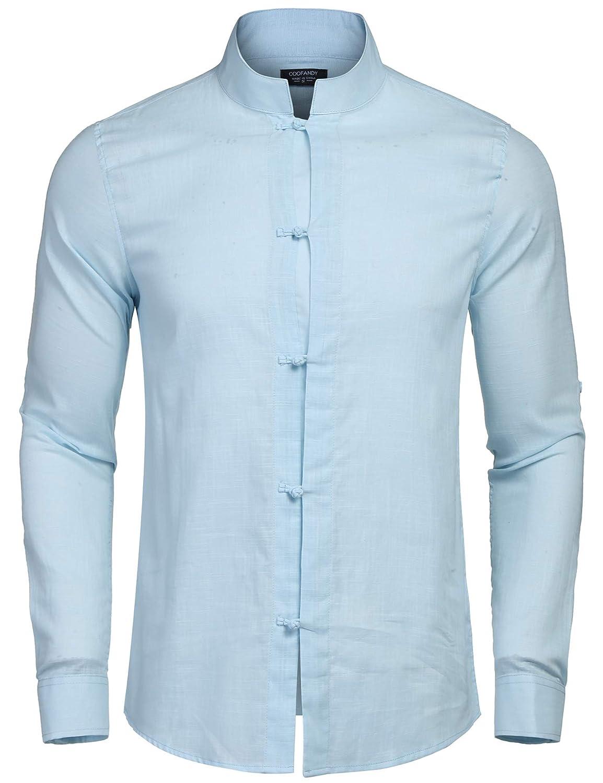 Coofandy Herren Hemd Leinenhemd Langarm Regular Fit Stehkragen Einfarbig Freizeithemd für Männer
