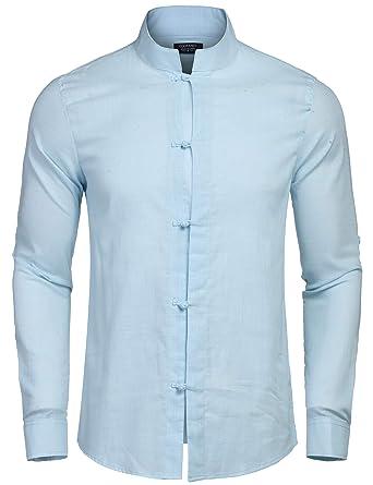 half off 1fab4 be40b Coofandy Herren Hemd Leinenhemd Langarm Regular Fit Stehkragen Einfarbig  Freizeithemd für Männer