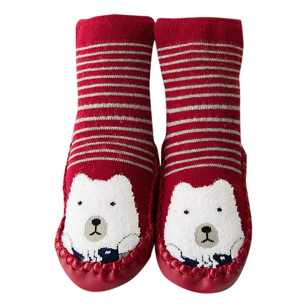 NUWFOR Newborn Baby Boys Girls Cartoon Cute Warm Floor Socks Anti-Slip Baby Step Socks(Red,10-18Months)