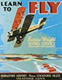 Learn To Fly Bi Wing Airplane Retro Vintage Tin Sign Tin Sign , 13x16
