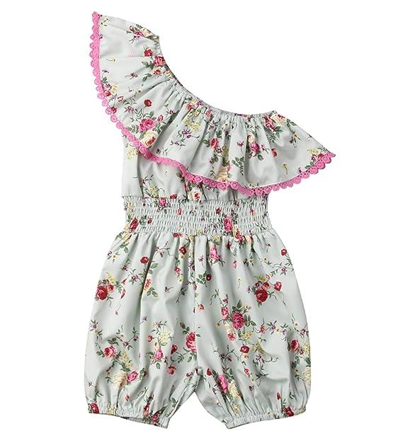 baee1bb9d Styles I Love Toddler Girls Garden Floral Ruffle One Shoulder Jumpsuit  Spring Summer One-Piece