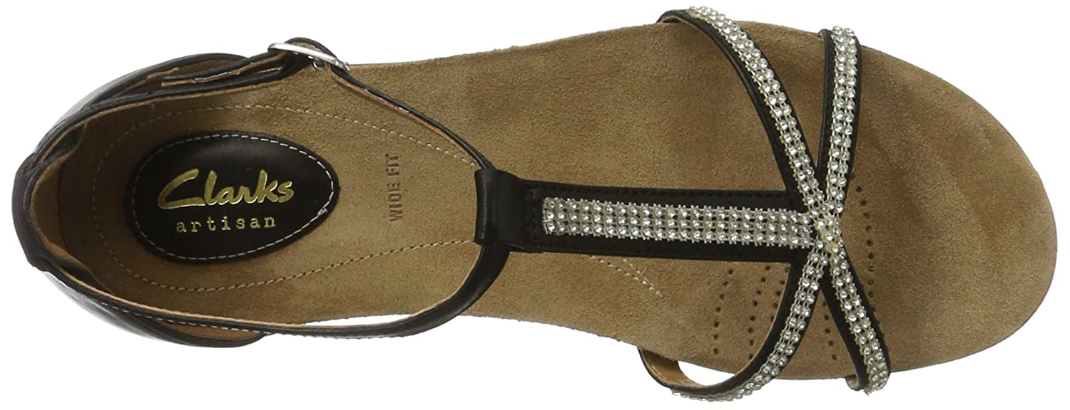 b495793fc Clarks Womens Casual Clarks Raffi Star Leather Sandals In Black Wide Fit  Size 6.5  Amazon.co.uk  Shoes   Bags