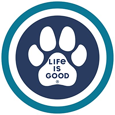 "Life is Good. 4"" Circle Sticker: Paw Coin: Clothing"