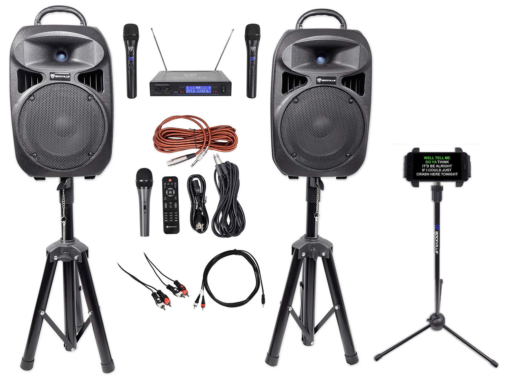 Rockville 8'' iPhone/ipad/Laptop/TV Karaoke Machine/System+Wireless Mics+Stand