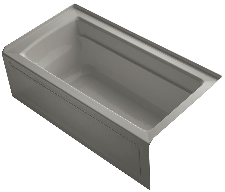 KOHLER K-1123-RA-K4 Archer 5-Foot Bath with Comfort Depth Design, Integral Apron and Right-Hand Drain, Cashmere