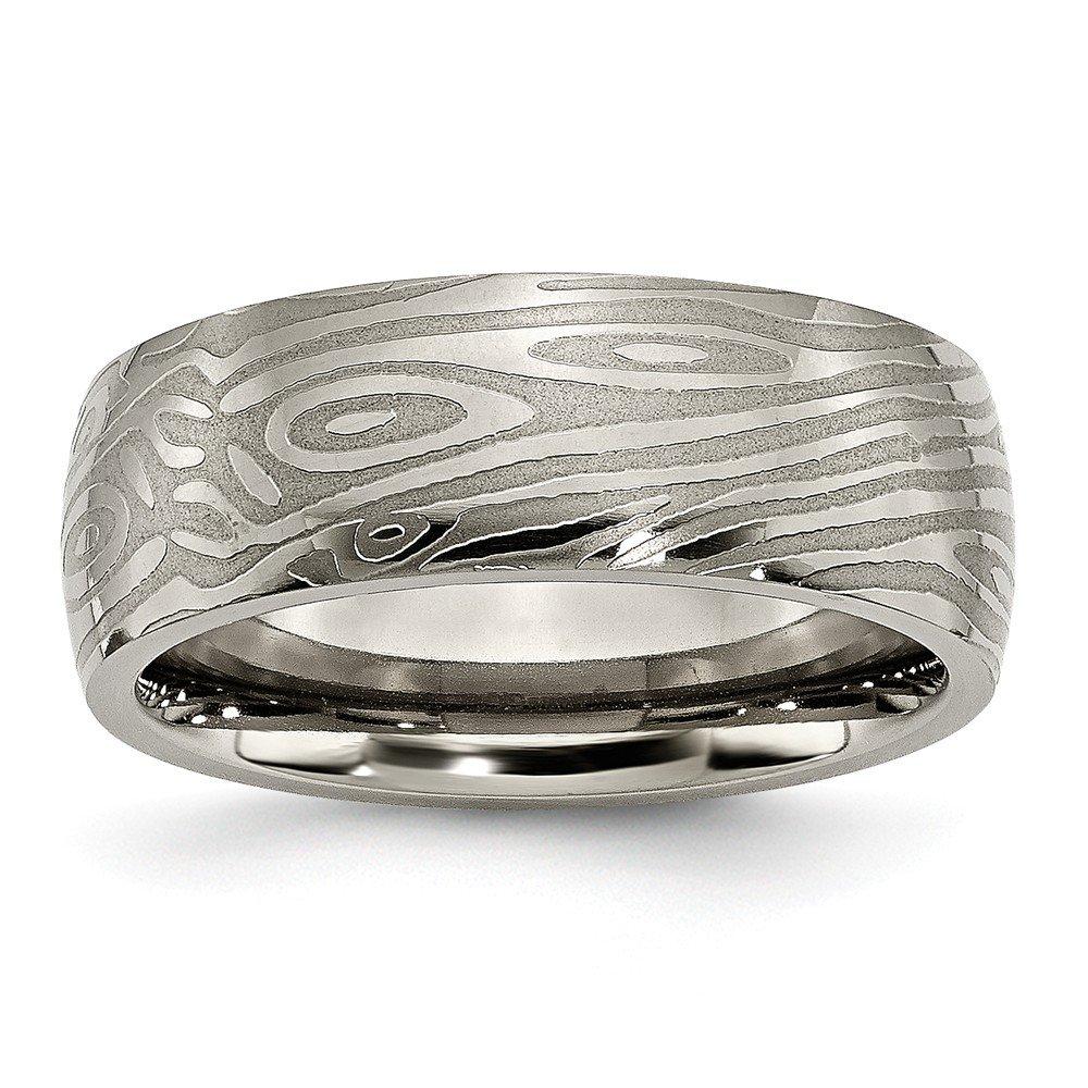 JewelryWeb Titanium Brushed Textured Engravable 8mm Woodgrain Satin and Polished Band Ring - Size 13