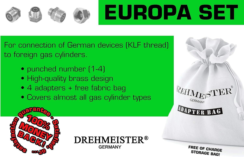 Drehmeister Juego de conexión para Botellas de Gas con Adaptador de Gas Europa para la Retirada - Conexión de Dispositivos KLF alemanes a Botellas de ...
