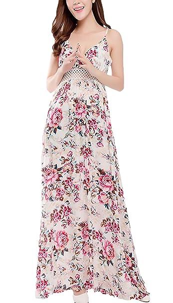 Adelina Vestido Largo Mujer Vintage Elegantes Flores Estampado Vestido Playa Ropa Dama Moderno Sin Mangas Tirantes V Cuello Sin Espalda Talle Alto Casual ...