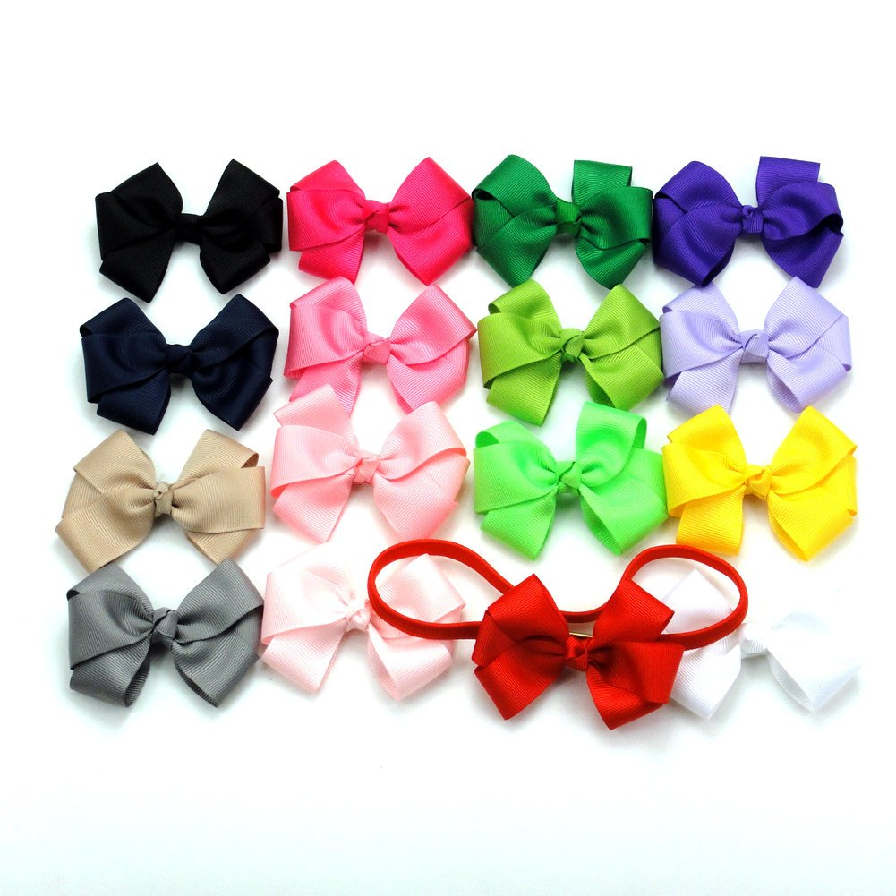 "Janecrafts 3"" Girls Baby Boutique Grosgrain Ribbon Hair Bow Clip Headband Mix 16 Colors"